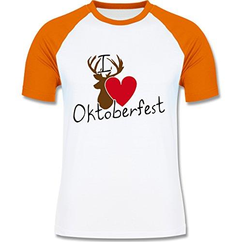 Oktoberfest Herren - Oktoberfest Love Hirsch - zweifarbiges Baseballshirt für Männer Weiß/Orange