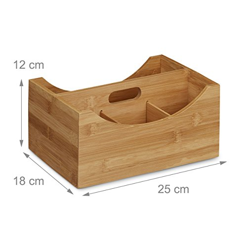 Relaxdays Schreibtischorganizer Bambus, Stifteköcher, 4 Fächer, Griff, natürliche Maserung, HxBxT: ca. 12 x 25 x 18 cm, natur - 3