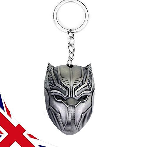 B-Creative Schlüsselanhänger Black Panther – DC Marvel Avengers Maske – Gun Metal Silver