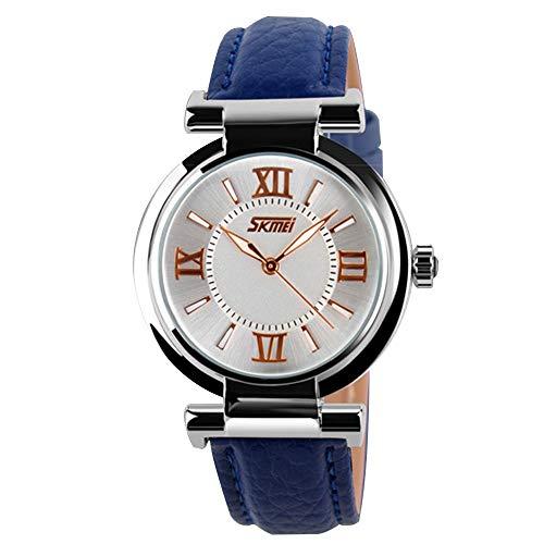 LANTA Home Klassische beiläufige Schwarze lederne Frauen analoge Uhr römische Ziffern Retro Vintage Uhr für Damen (Color : Blue)