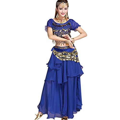 TianBin Femmes Costume de Danse du Ventre Vêtements Accessoires Ensemble Jupe en Mousseline (Saphir#4, Taille Unique)