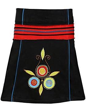Tattopani de mini falda de algodón con cintura elástica y bordado floral colorido