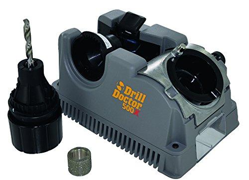 TIVOLY 1111177500M 500 Affûteuse de forets Drill Doctor DD500 Ø 2,5 à 13 mm Affûtage 118° à 135 Conique et Pointe en Croix-Angle de dépouille réglable, Bleu