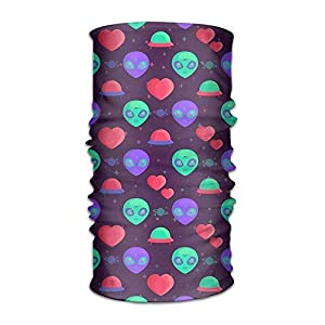 Sturmhauben Alien Airship Love Heart Quick Dry Microfiber Headwear Outdoor Magic Bandana As Neck Gaiter Head Wrap Headband Scarf Face Mask Ultra Soft Elastic One Size