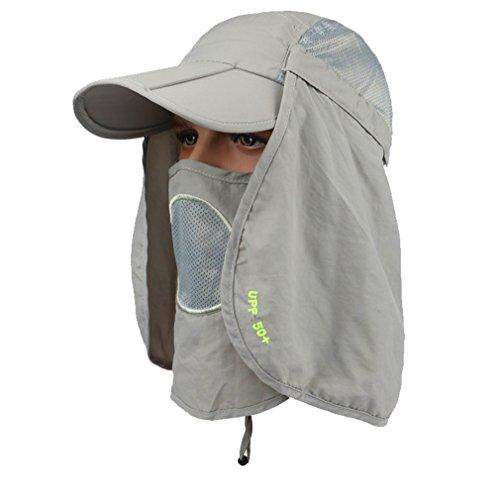 GADIEMKENSD UPF 50+ Folding Fishing Hat Adjustable UV Protection Mask Removable Legion Hat 360 Outdoor Sun Hat Anti-mosquito Hunting Hat CES-OTI388