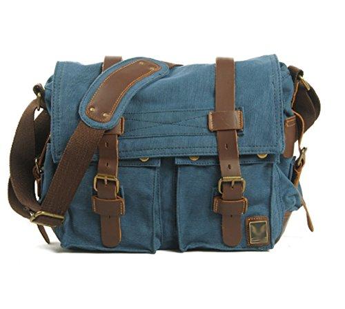 Nasis Fashion Canvas DSLR Kamera Schutztasche Schultertasche groß Kapazität mit inner Schutztasche AL4028 (blau)