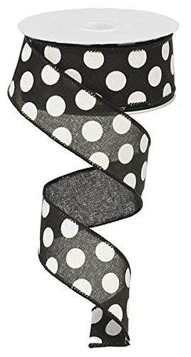 RX9145X6 Schleifenband, gepunktet, 3,8 cm, Schwarz/Weiß