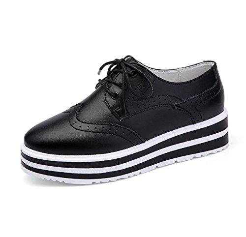 Damen Schnürhalbschuhe Plateau Unsichtbar Erhöhung Barock Stil Eckig Flach Modisch Atmungsaktiv Freizeit Topaktuell Schuhe Schwarz