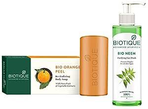 Biotique Bio Neem Purifying Face Wash, 200 ml And Biotique Bio Orange Peel Revitalizing Body Soap, 150g