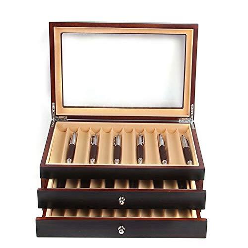MOMOJA Stifthalterbox mit Vitrine Stiftebox Holz für 34 Füller Stifte Kugelschreiber Federhalter Display Box