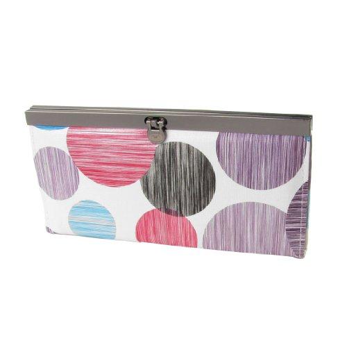 Allegra K White Faux Leather Colorful Dot Stripe Print Flip Lock Closure Wallet for Women