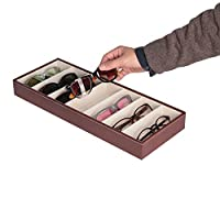 JackCubeDesign MK378 - Leather Eyeglass Storage Case with 7 Compartments