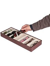 JackCubeDesign MK378 - Funda de Piel para Gafas con 7 Compartimentos