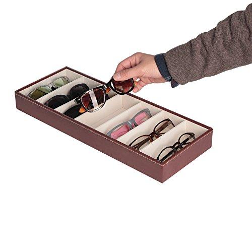 JackCubeDesign Leder 7 Fächer Brillen Display Organizer Brillen Sunglass Aufbewahrungskoffer Box Eyewear Tray Stand Open Top Suede Innen (Braun, 44,2 x 17 x 5cm) -: MK378B