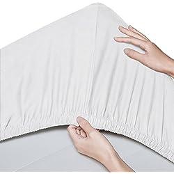 Pinzon - Sábana bajera de algodón orgánico de 300 hilos (pack de 2) - 60 x 120 cm, Blanco