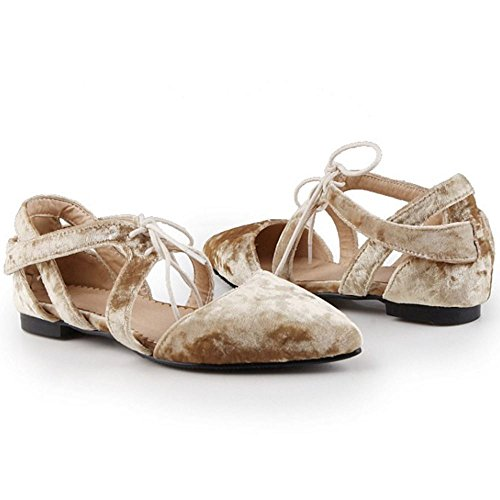 Branco Acolhedor Sandália Lacing Dedo De Apontado Compras Senhoras Taoffen Sapatos Baixos 5n7qxvw