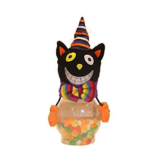 behör Happy Halloween Candy Jar Kinder Transparente Cartoon-Flaschenbox Aufbewahrung Party, D, Reference Picture or Product Description ()
