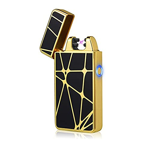 Eco-Friendly Candle Lighter, LAZU-lighter Double Electronic Arc Cigarette Lighter USB Rechargeable Windproof Flameless No Gas Cigar Lighter Mini Pocket Ignition Plasma Lighter Fire Starters with LED Indicator (Gold)