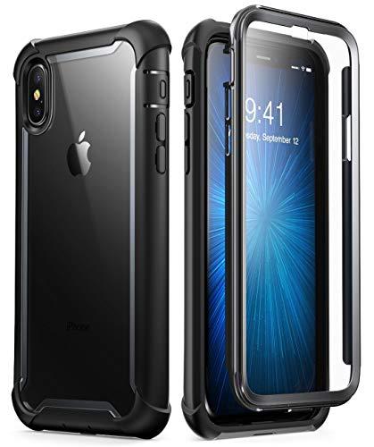 i-Blason iPhone XS Max Hülle [Ares] 360 Grad Handyhülle Bumper Case Robust Schutzhülle Clear Cover mit integriertem Displayschutz für Apple iPhone XS Max 6.5 Zoll 2018 (Schwarz) (Cell Günstige Phone Unlocked)