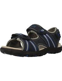 Geox J Strada A Navy/Dark Royal Durabuck Youth Flat Sandals