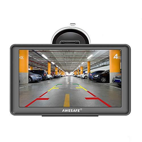 GPS para Coches con 7 Pulgadas Pantalla LCD con Bluetooth y Cámara Trasera, Navegador GPS para Coche y Camión con Actualizaciones de Mapas para Toda la Vida