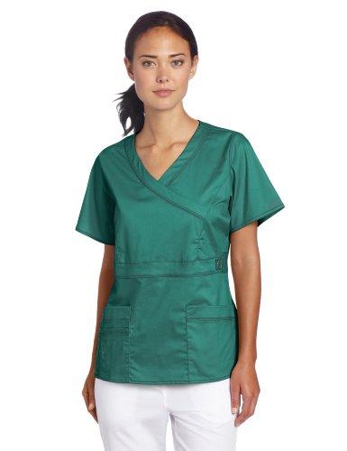 Dickies Scrubs Women's Gen Flex Junior Fit Contrast Stitch Mock Wrap Shirt, Hunter Green, XX-Large (Mock Junior-fit Wrap)