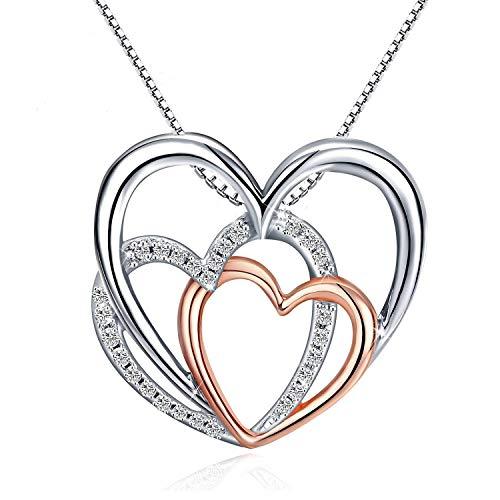 8da2b57b1f Fu You Damen Kette mit Anhänger 925 Sterling Silber Halskette Herz Anhänger  Ketten für Damen Mädchen Länge 45+5cm