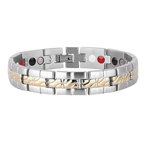 Titan Magnetfeldtherapie Armband, Herren einstellbar Mode Stahl Magnetic Bangle Germanium Negative Ion Schmerzlinderung für Arthritis
