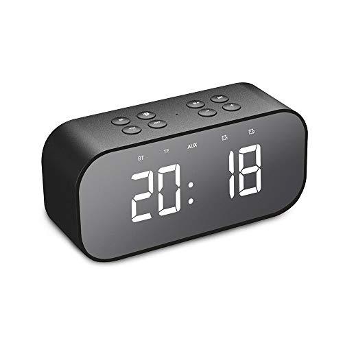 Led Digital Wecker, Radiowecker Bluetooth 5.0 Lautsprecher mit FM Radio, Nachtlicht, Dual-Alarm, Lautsprecher, Aux/TF, FM-Radio and Temperatur und Große Spiegel-Anzeige USB-Ladeanschluss (Schwarz) (Mit Alarm Radiowecker)