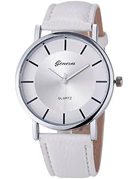 Frauen Einfach Armbanduhr, Keepwin Retro Unique Silber Zifferblatt Quartzuhr Leder Band Analog Uhren für Damen...