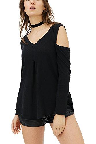 trueprodigy Casual Damen Marken Long Sleeve Einfarbig Basic, Oberteil Cool und Stylisch mit V-Ausschnitt (Langarm & Slim Fit), Langarmshirt für Frauen in Farbe: Schwarz 1182505-2999-XL