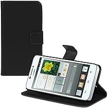 kwmobile Elegante funda de cuero sintético para el Huawei Ascend G630 con cierre magnético y función de soporte en negro