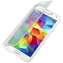 Funda de gel TPU con tapa para Samsung Galaxy S5 color transparente