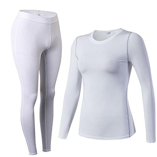 Damen Thermo-Unterwäsche Set Stretch lang Hemd + lang Hose U-Außchnitt Funktionswäsche Skiunterwäsche Set Weiß S -