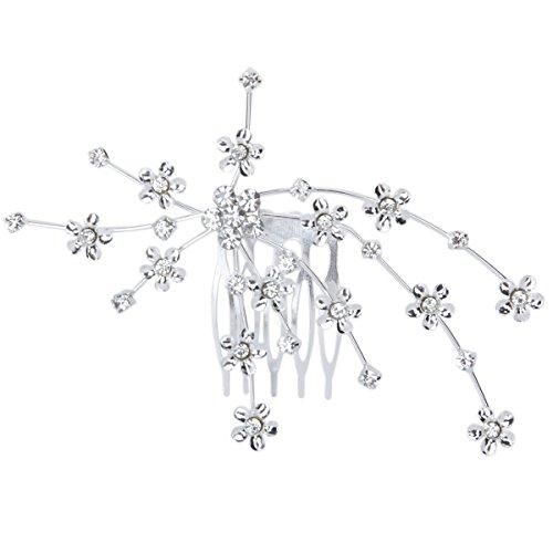 PIXNOR zart charmante Damen Braut Hochzeit Crystal Strass Dekor Blume Stil Haar Kamm Clip Hair Pin Haar Zubehör (Silber)