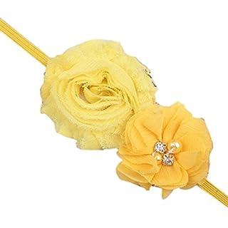 Haarband für Baby /Kleinkinder, Chiffon, zwei Blumen, weicher Stoff, einfacher Kopfschmuck