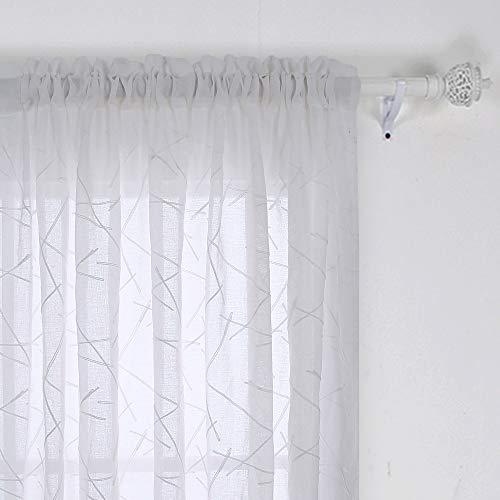 Deconovo Cortina Visillos Diseño Líneas Efecto Lino