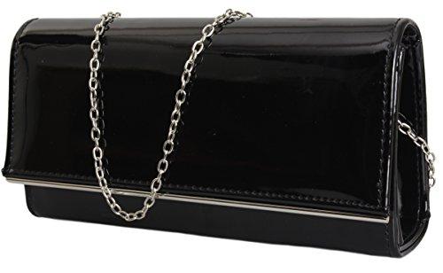 Damen Lack Handtasche / Clutch / Abendtasche Elegante Tasche in (Handtasche Lack Schwarze)