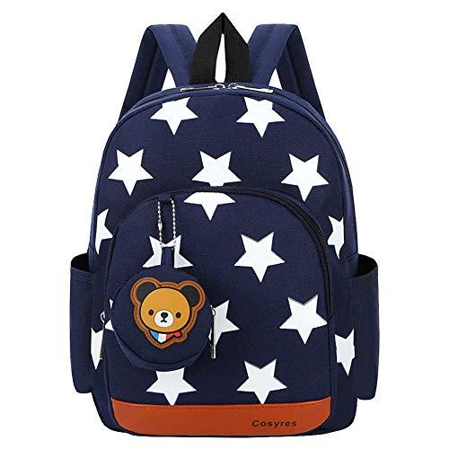 Cosyres Sterne Kleinkind Kinder Rucksack für Kindergarten Junge Babyrucksack Schultasche Dunkelblau