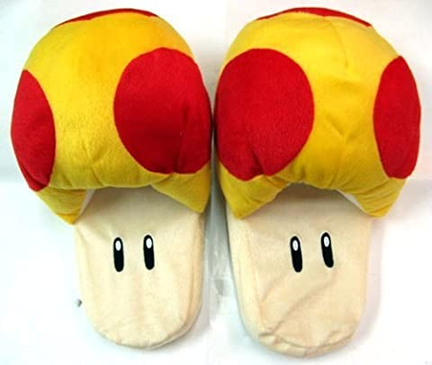 Super Mario Brothers Mushroom Yellow Ver Slippers Plush (age 10 and up) by Banpresto (English Manual)