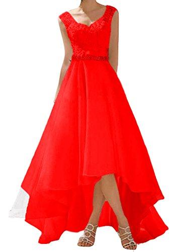 O.D.W Spitze Lange Kurze Rustikale Party Brautkleider Frauen Vintage Hochzeitskleider(Rot, 44)