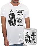 iMage Promo T-Shirt con Tazza Mug Abbinata Frase Il Buono Il Brutto Il Cattivo-Film - Uomo S - Bianca