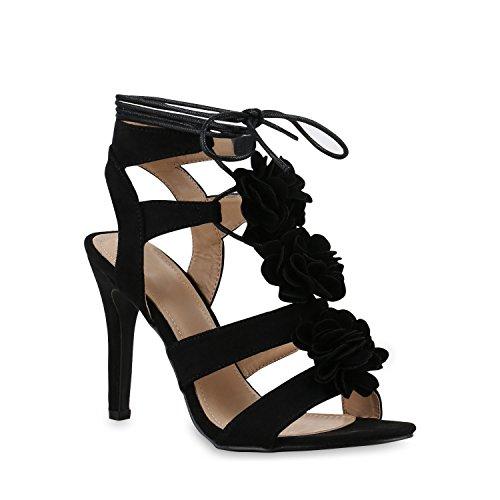 Damen Pumps Stiefeletten High Heels Schnürpumps Cut-Outs Schuhe 131879 Schwarz Blumen Schnürer 41 Flandell