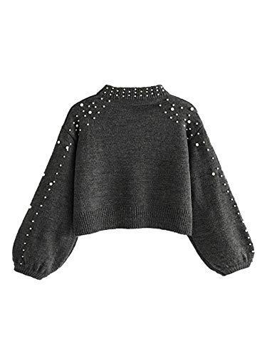 DIDK Damen Crop Stehkragen Bishopärmeln Pullover,Damen Stehkragen Langarm Perlen Pullover Pulli Sweatshirt Tops Bluse Pullovershirt Grau S