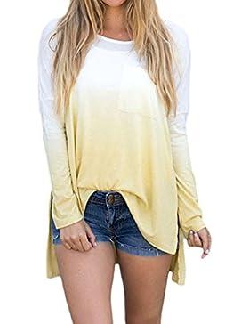 Hibote Mujer Blusas Camisa manga larga mujer Camiseta casual asimétrica Top Cuello redondo Blusa suelta suave...
