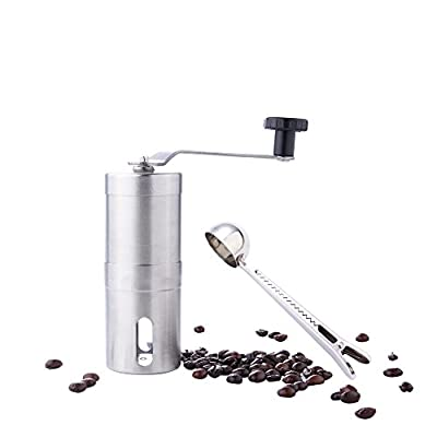 Coffee Grinder,GWCLeo Hand Manual Coffee Mill Best Conical Adjustable Ceramic Conical Burrs Mill, With Coffee bean, spoonespresso compatible,Consistent Grind, Perfect for Traveling from GWCleo