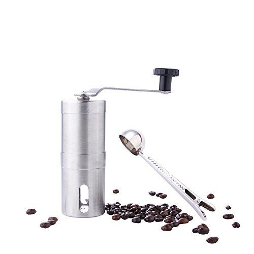 GWCLEO Molinillo de café de Acero Inoxidable, Compatible con AeroPress,con Moledores Ajustable de Cerámica,Espresso...
