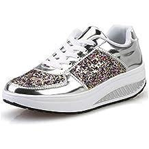 Zapatillas de Deporte para Mujer con Cordones Plataforma Impermeable Zapatillas de Deporte con cuña para Caminar