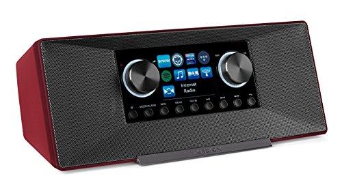 Medion P85135 7,1 cm (2,8 Zoll TFT-Display) WLAN Internet-Radio, 2x6 W RMS, DLNA-/UPnP, DAB+, FM/UKW, LAN, USB 2.0, Aux, Spotify, Rot