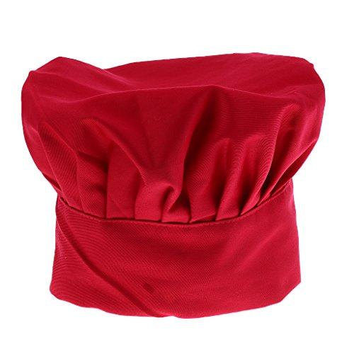 Magideal adulto elastico cottura tappo costume cappello da chef cuoco 4-colori - rosso, taglia unica